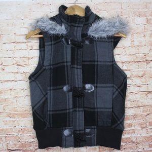 OP Black/Gray Plaid Zip Puffer Vest Faux Fur Hood
